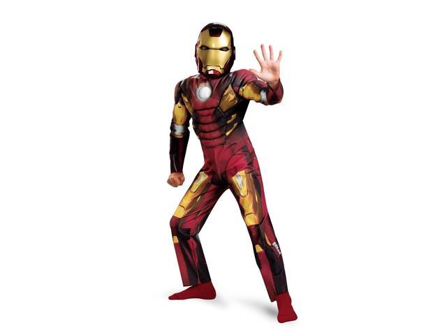 The Avengers Iron Man Mark 7 Muscle Jumpsuit Costume Child Toddler Large 10-12