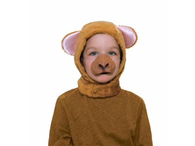 Monkey Hood & Nose Animal Costume Set Child Standard