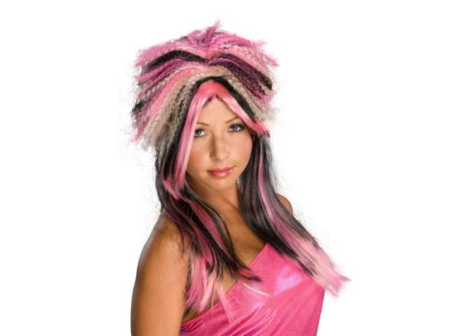 Pink Black & Blonde Punk Rock 80'S Costume Wig