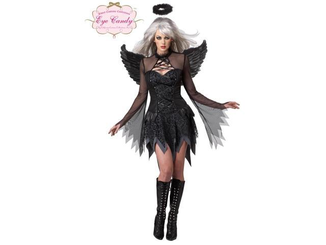 Sexy Black Fallen Angel Dress Costume Adult X-Large 12-14