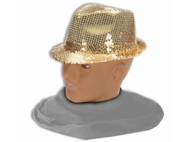 Adult Sequin Fedora Costume Hat - Gold