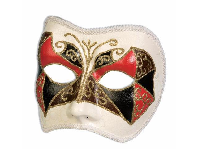 Red & Black Venetian Masquerade Costume Half Mask
