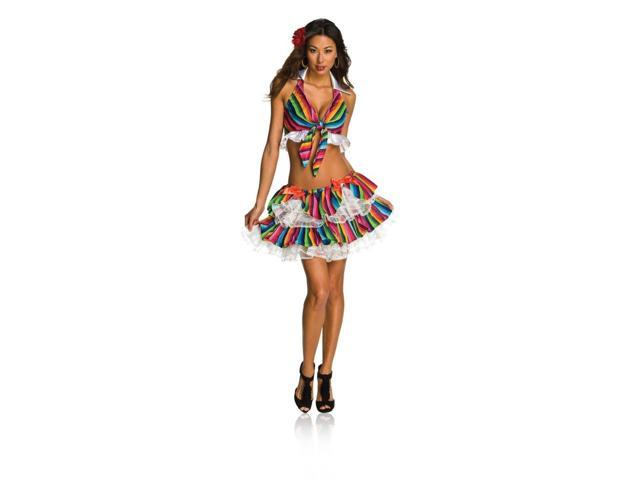 Sexy Mexy Spanish Mexican Senorita Halter Top&Skirt Costume Adult X-Small