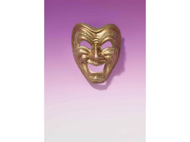 Gold Comedy Drama Mardi Gras Costume Full Mask