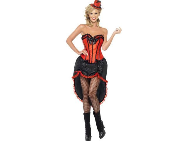 Sexy Burlesque Dancer Costume Adult: Red & Black Small
