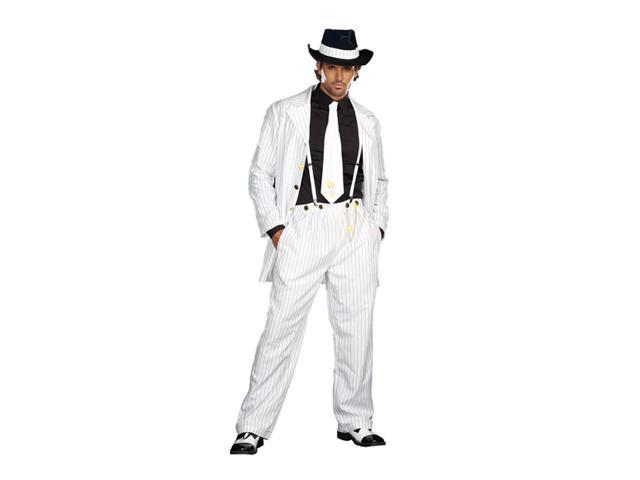 White Pinstriped Gangster Zoot Suit Costume Adult Medium
