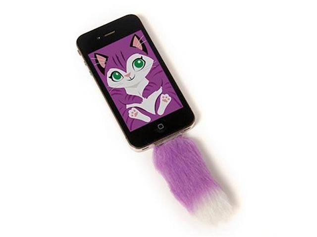 Faux Purple Fox Tail For Iphone Clip in Accessory With Screensaver