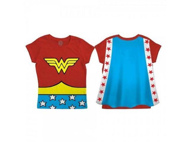 DC Comics Wonder Woman Logo Red Cape Toddler Tee 4T