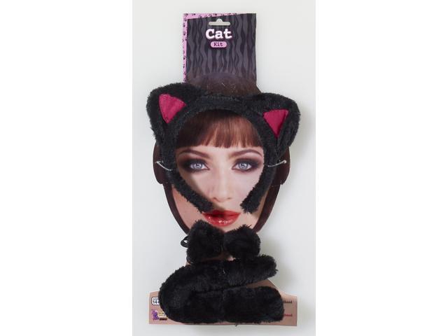 Animal Costume Accessory Kit Adult: Black Cat One Size