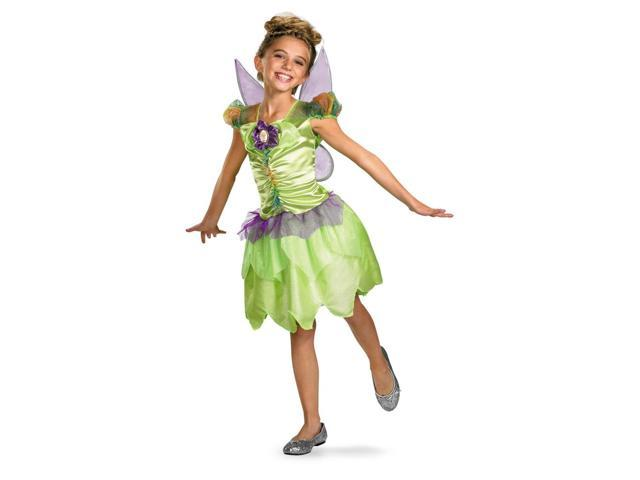 Disney Fairy Tinker Bell Rainbow Classic Costume Dress w/Wings Child 7-8