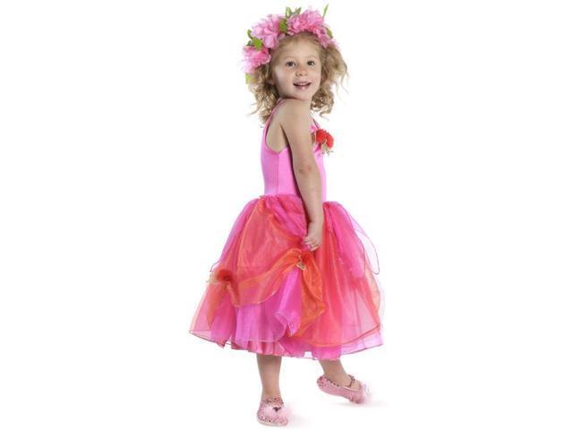 Deluxe Rose Fairy Tulle Dress Pink Child Costume Medium