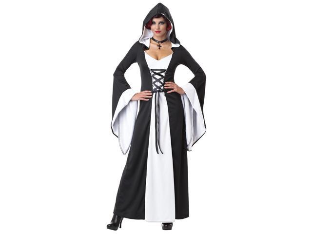 Deluxe Gothic Black & White Hooded Robe Dress Costume Adult Small 6-8