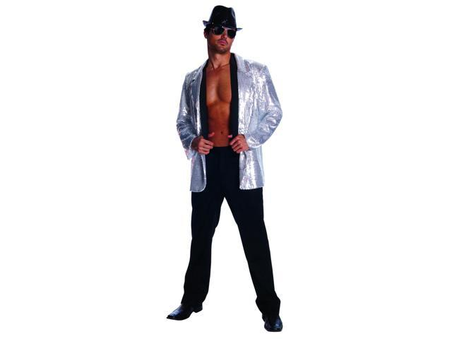 Men's Silver Sequin Costume Jacket Adult Medium 38-40
