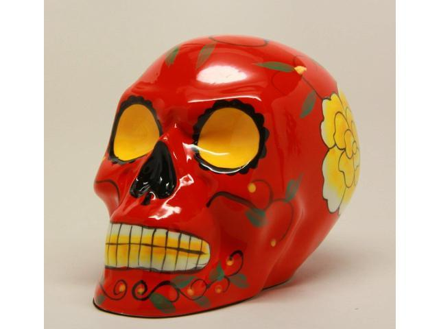 Red Day of the Dead Skull Statue