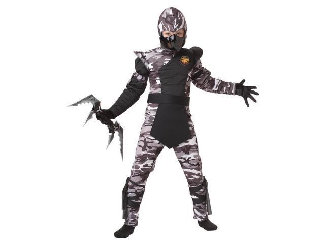 Arctic Forces Camo Ninja Costume Child Medium Plus 8-10