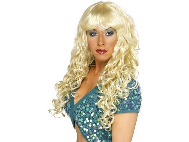Long Curly Blond Siren Costume Wig