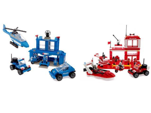 Best Lock Construction Toys 450 Piece Set: Fire & Police Station