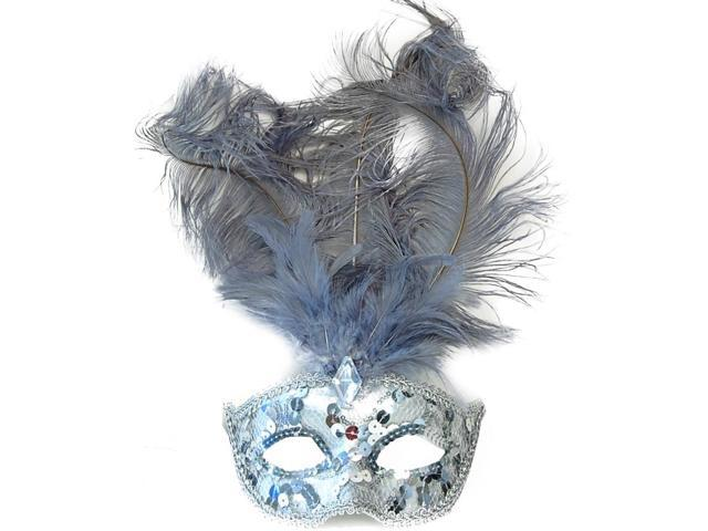 Showgirl Feather Mardi Gras Adult Costume Mask Silver