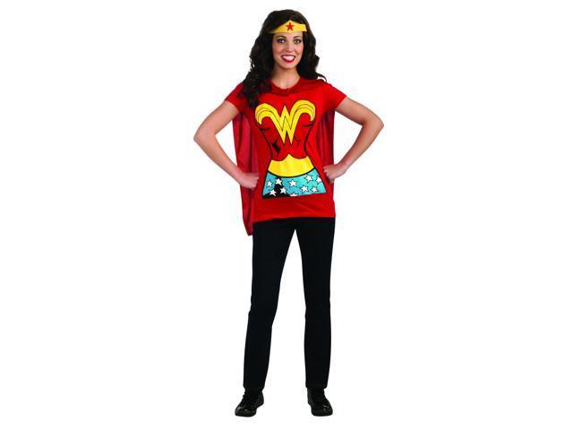 Wonder Woman Shirt & Headpiece Costume Set Adult Small 6-10