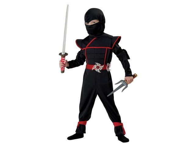 Stealth Ninja Costume Child Toddler: Black & Red Medium