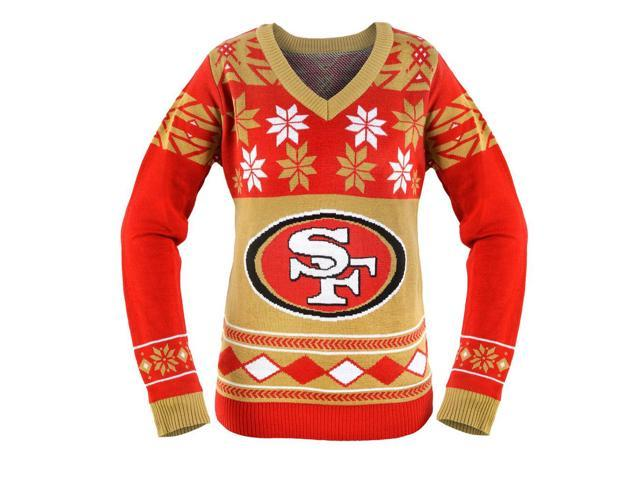 San Francisco 49ers NFL Women's Big Logo V-Neck Ugly Christmas Sweater X-Large