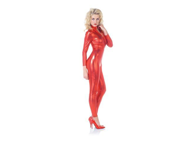 Sexy Metallic Stretch Full Body Catsuit Costume Red Adult X-Large 16-18