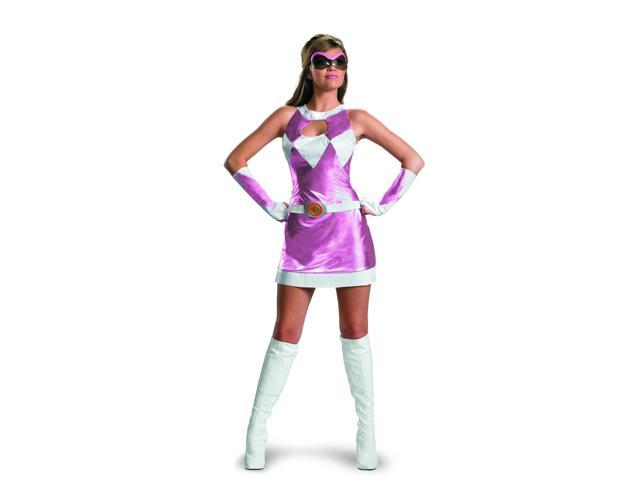 Power Rangers Pink Ranger Deluxe Costume w/Goggles & Glovelettes Adult 4-6