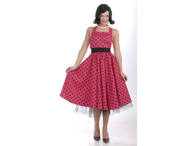Pink & Black Pretty Dot Dress Costume w/ Crinoline Adult X-Large 14-18