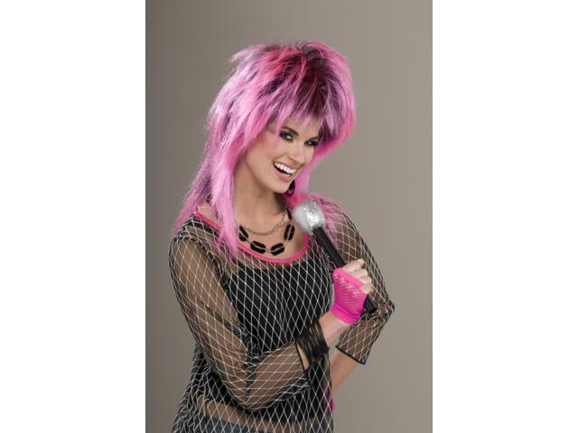 80's Punk Rock Electric Pink Costume Wig