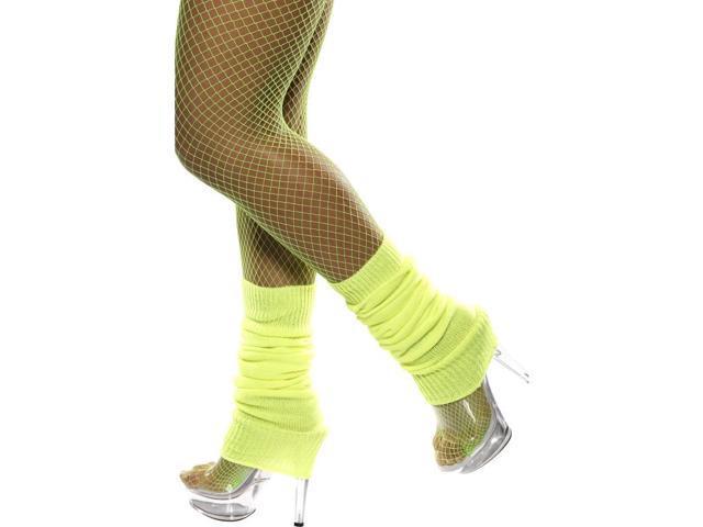 80's Neon Yellow Leg Warmers Costume Accessory
