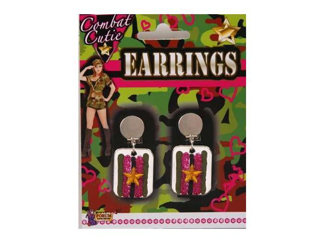 Combat Cutie Dog Tag Costume Earrings