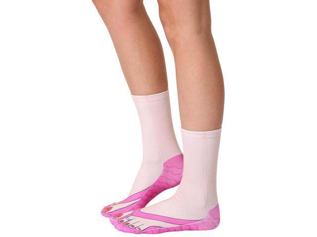 Flip Flops (Pale) Photo Print Crew Socks