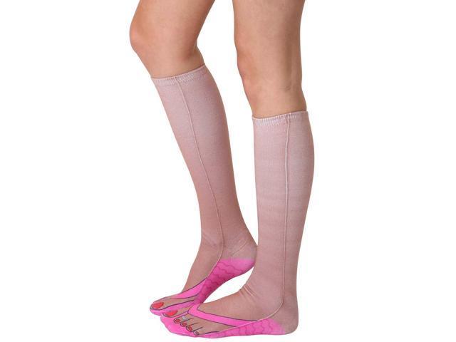 Flip Flops (Tan) Photo Print Knee High Socks