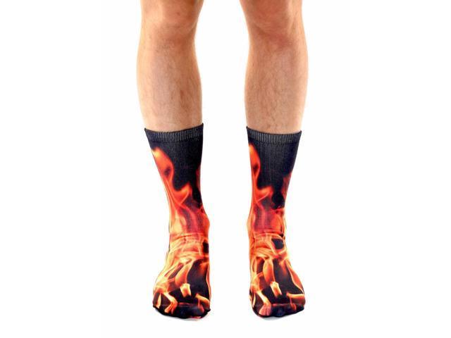 Flame Photo Print Crew Socks