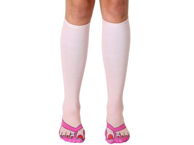 Flip Flops (Pale) Photo Print Knee High Socks