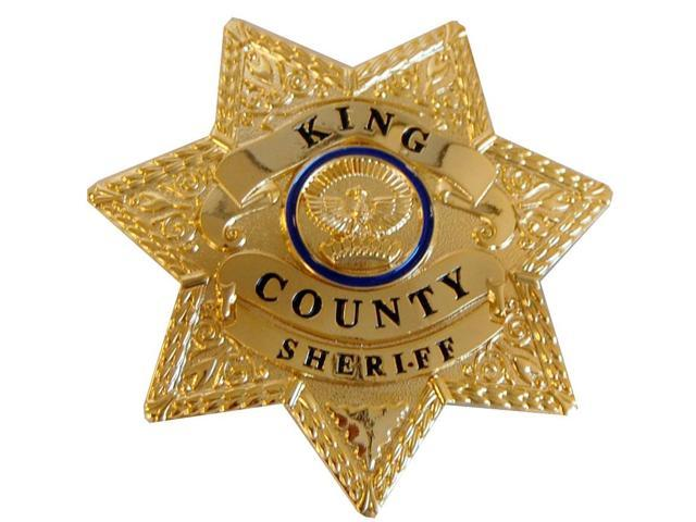 The Walking Dead King County Sheriff Prop Replica Brass Metal Badge with Holder