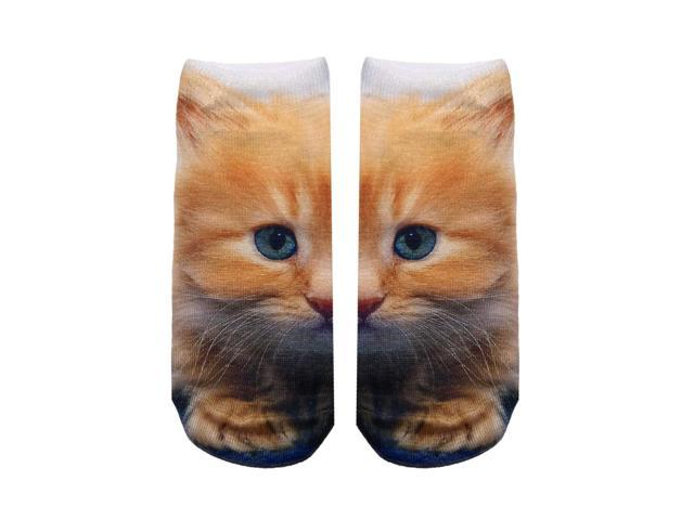 Kitty Photo Print Ankle Socks