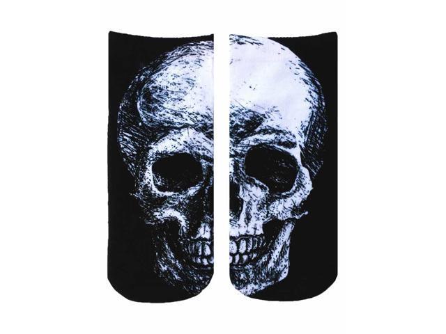Black and White Skulls Photo Print Ankle Socks