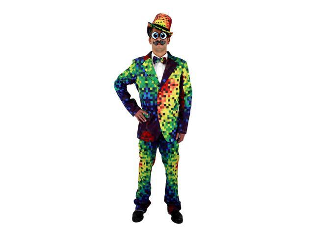 Pixel 8-Bit Rainbow Pixel Adult Costume Pants Medium/Large