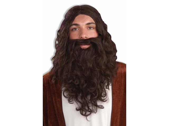 Biblical Wig & Beard Costume Accessory Set: Brown One Size Fits Most