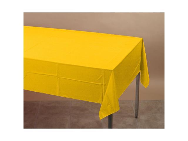 Touch Of Color Plastic-Lined Table Cover 54x108 School Bus Yellow