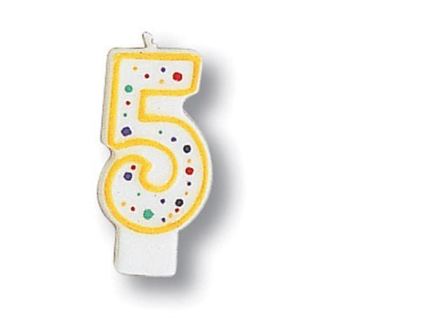 Polka Dot Numeral Candle #5