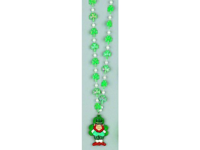 Luck 'O The Irish Bead Necklace Shamrocks With Leprechaun Charm
