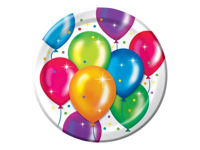 8 Pack 8 3/4 Round Luncheon Plate Birthday Balloons