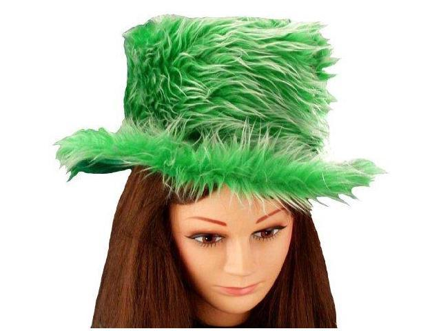 St Patrick's Day Green & White Fuzzy Party Hat