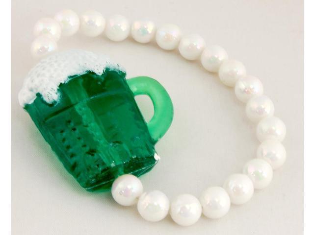 Luck 'O The Irish Green Beer Bead Bracelet