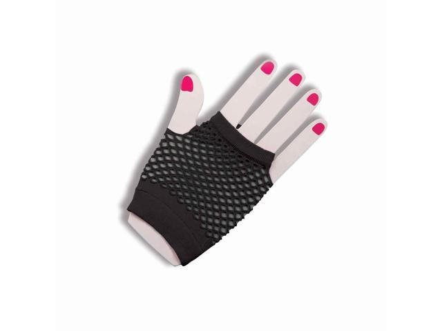Short Black Fingerless Fishnet Adult Gloves