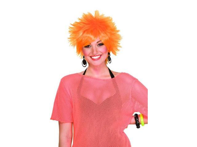 80's Punk Rock Pixie Costume Wig Orange
