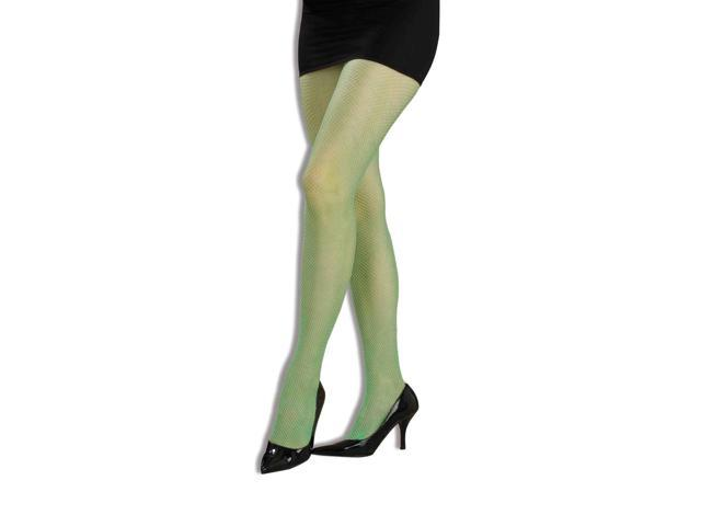 80's Neon Green Adult Costume Fishnet Tights One Size