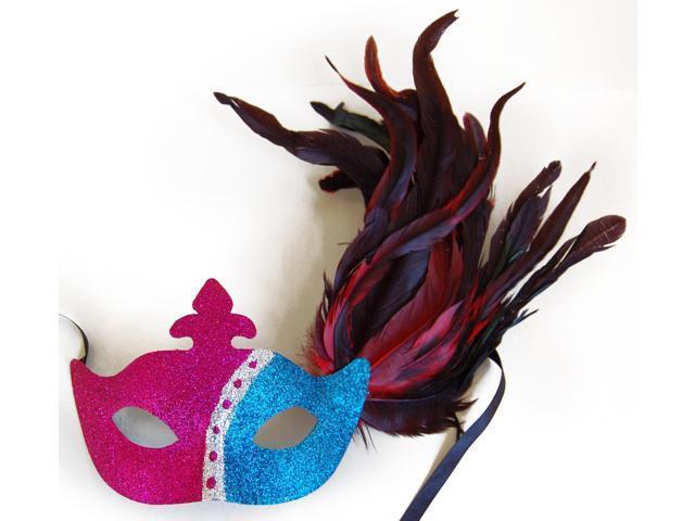 Glitter Eye Venetian, Masquerade, Mardi Gras Mask W/Feathers Style C